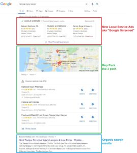 screenshot of google screened for personal injury lawyers