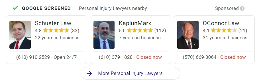 screenshot of local service ads for Philadelphia personal injury attorneys