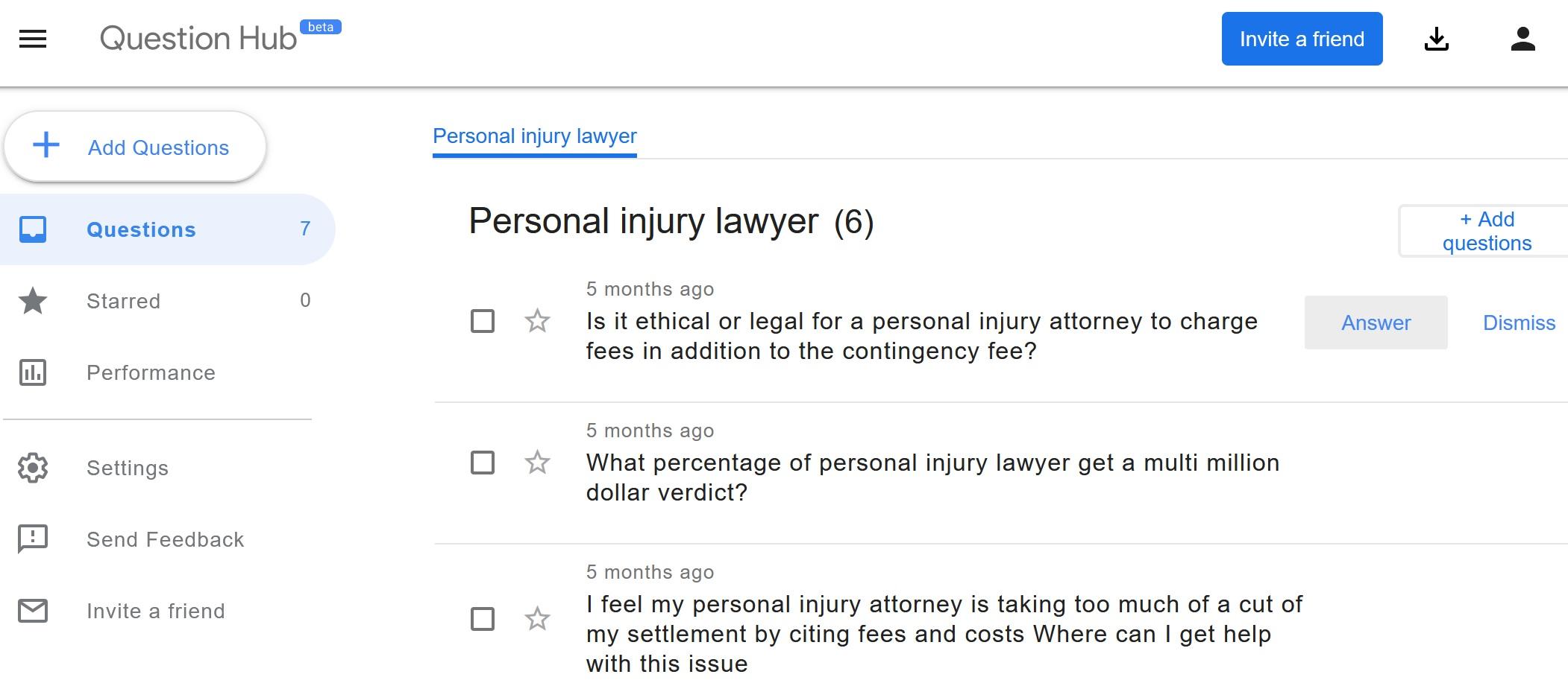 question hub personal injury screenshot