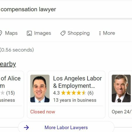workers compensation lawyer local service ads screenshot