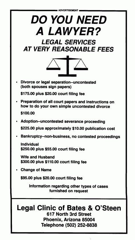 Bates vs Arizona attorney advertising