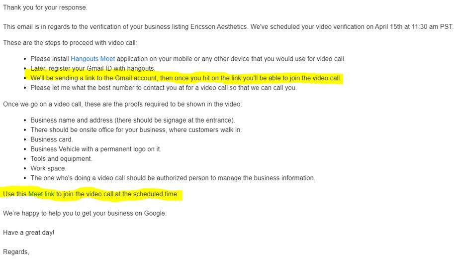 google my business video verification email
