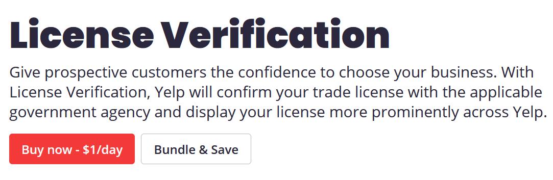 yelp license verification screenshot