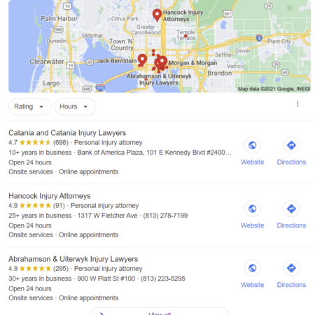 Example of the Google 3 pack